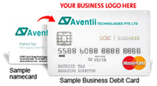 business debit card with logo
